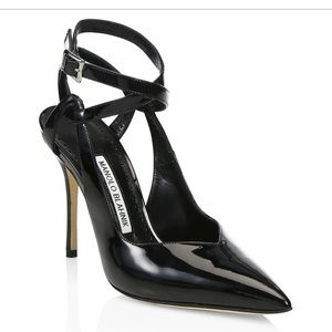 Manolo Blahnik Lero Black Patent Heels size 37.5